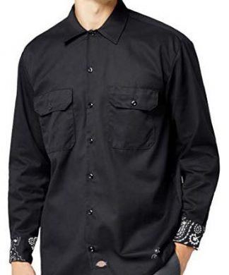 Black Bandana Custom Dickies Shirt Cuffs LS Black by BandanaFever.com