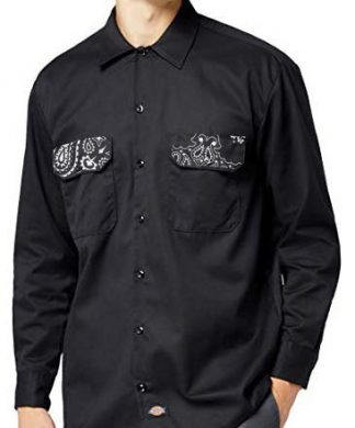 Black Bandana Custom Dickies Shirt Pockets LS Black by BandanaFever.com