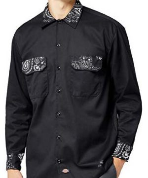 Black Bandana Custom Dickies Shirt Whole LS Black by BandanaFever.com