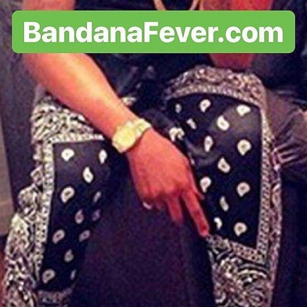 Black Bandana Teardrops Custom Joggers Black Model at BandanaFever.com