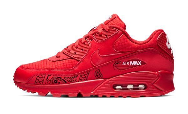 Black Bandana Teardrops Custom Nike Air Max Shoes Red b BandanaFever.com