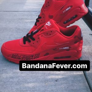 Black Bandana Teardrops Custom Nike Air Max Shoes Red Stacked at BandanaFever.com