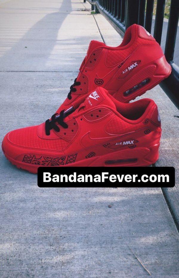 Black Bandana Teardrops Custom Nike Air Max Shoes Red Stacked at BandanaFever.com