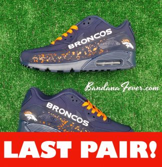 Denver Broncos Orange Splat Guard Custom Nike Air Max 90 Shoes Navy Double-Sided On Sale at BandanaFever.com