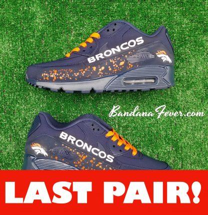 Denver Broncos Orange Splat Guard Custom Nike Air Max 90 Shoes Navy Double-Sided On Sale at BandanaFever.com