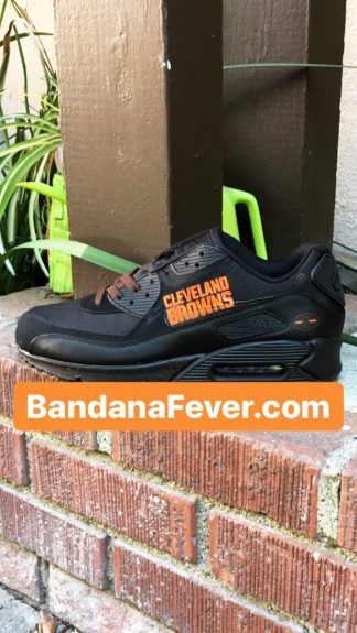 Cleveland Browns Brown Splat Custom Nike Air Max Shoes Black at BandanaFever.com