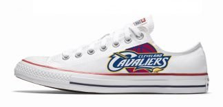 Cleveland Cavaliers Custom Converse Shoes White Low by BandanaFever.com