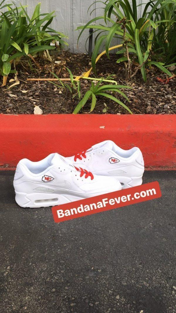 KC Chiefs Black Splat Custom Nike Air Max Shoes White Insides at BandanaFever.com