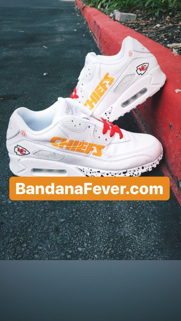 KC Chiefs Black Splat Custom Nike Air Max Shoes White Stacked at BandanaFever.com