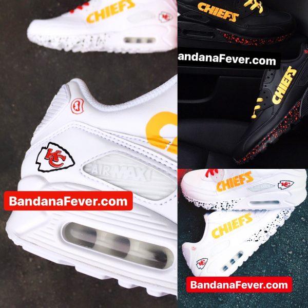 KC Chiefs Custom Nike Air Max Shoes at BandanaFever.com