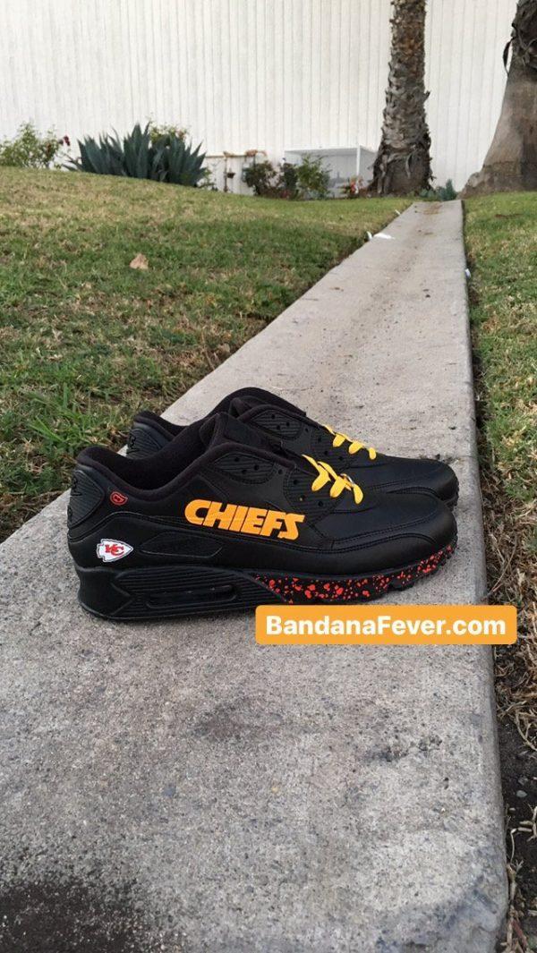 KC Chiefs Red Splat Custom Nike Air Max Shoes Black Pair at BandanaFever.com