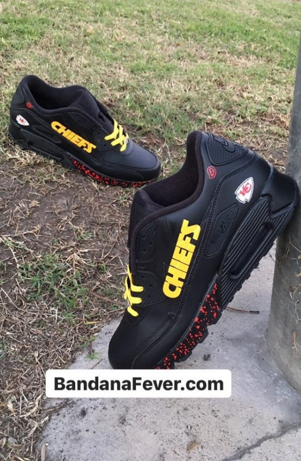 KC Chiefs Red Splat Custom Nike Air Max Shoes Black Stagger at BandanaFever.com