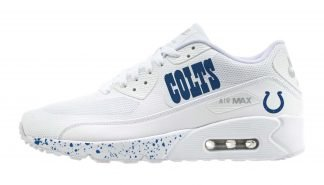 Indianapolis Colts Blue Splat Custom Nike Air Max Shoes White by BandanaFever.com