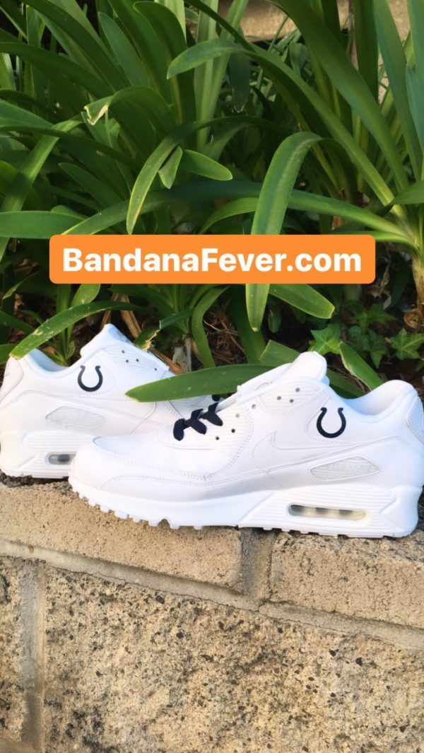 Indianapolis Colts Blue Splat Custom Nike Air Max Shoes White Insides at BandanaFever.com