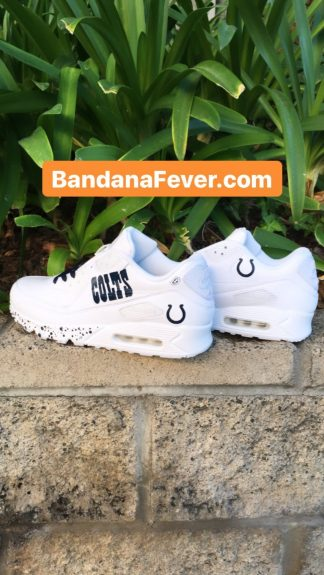 Indianapolis Colts Blue Splat Custom Nike Air Max Shoes White Pair at BandanaFever.com