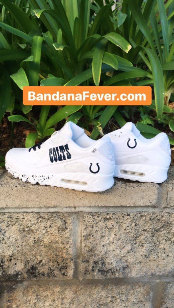 Indianapolis Colts Blue Splat Custom Nike Air Max Shoes White Pair at BandanaFever.com