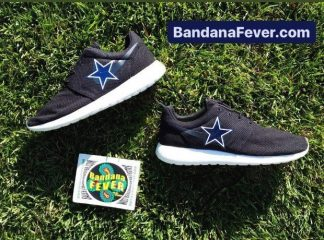 Dallas Cowboys Custom Nike Roshe Shoes Black Stagger at BandanaFever.com
