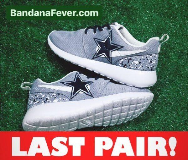 Big Dallas Cowboys White Blue Splat Custom Nike Roshe Shoes Grey On Sale at BandanaFever.com