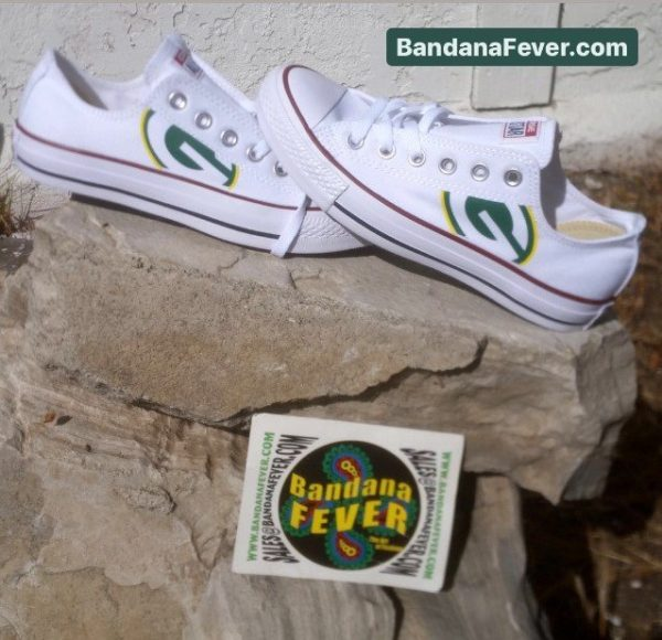Green Bay Packers Custom Converse Shoes White Low Stacked at BandanaFever.com