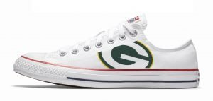 Green Bay Packers Custom Converse Shoes White Low by BandanaFever.com