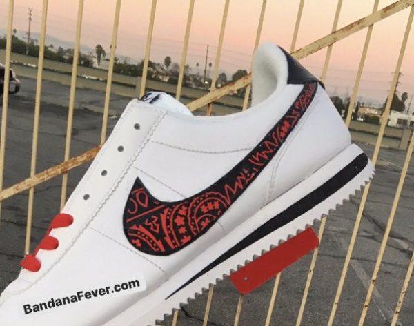 Red Bandana Custom Nike Cortez Shoes LWB Swoosh Angle at BandanaFever.com