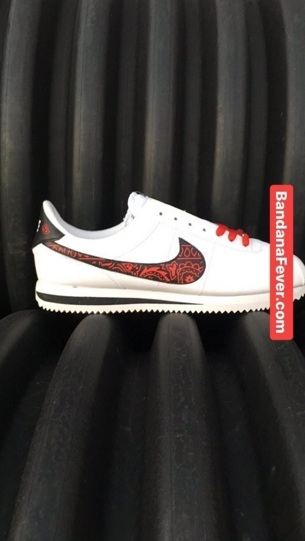Red Bandana Custom Nike Cortez Shoes LWB Swoosh Main at BandanaFever.com