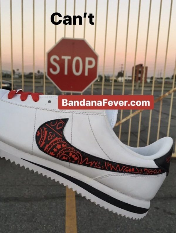 Red Bandana Custom Nike Cortez Shoes Swoosh LWB Stop at BandanaFever.com