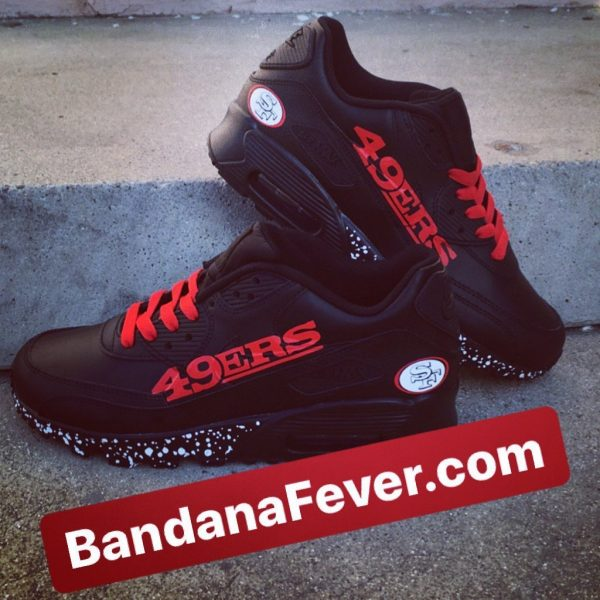 SF 49ers White Splat Custom Nike Air Max Shoes Black Stacked at BandanaFever.com