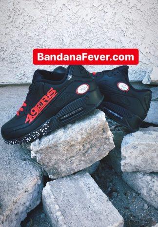 SF 49ers White Splat Custom Nike Air Max Shoes Black Stagger at BandanaFever.com