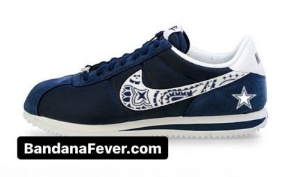 Bandana Fever Dallas Cowboys Mini Navy Blue Bandana Custom Nike Cortez Shoes NNW at BandanaFever.com