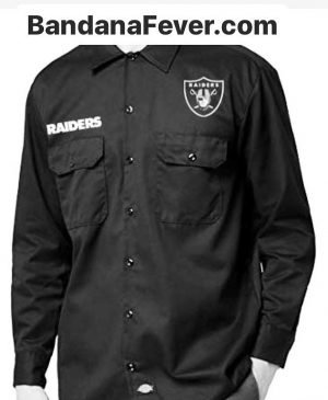 Bandana Fever Las Vegas Raiders Custom Dickies Shirt LS Black at BandanaFever.com