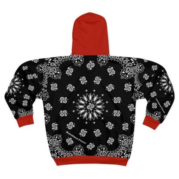 Black Red Bandana Custom Hoodie Zipper Black Back by BandanaFever.com