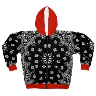 Black Red Bandana Custom Hoodie Zipper Black by BandanaFever.com