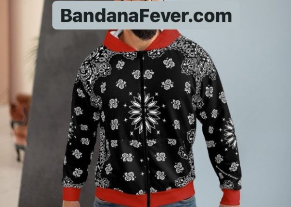 Black Red Bandana Custom Hoodie Zipper Black Model at BandanaFever.com