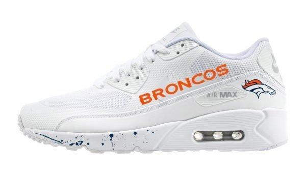 Denver Broncos Navy Blue Splat Custom Nike Air Max Shoes White by BandanaFever.com