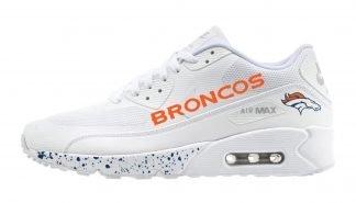 Denver Broncos Navy Splat Custom Nike Air Max Shoes White by BandanaFever.com