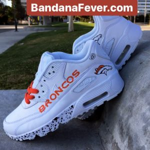 Denver Broncos Navy Splat Custom Nike Air Max Shoes White Pair at BandanaFever.com