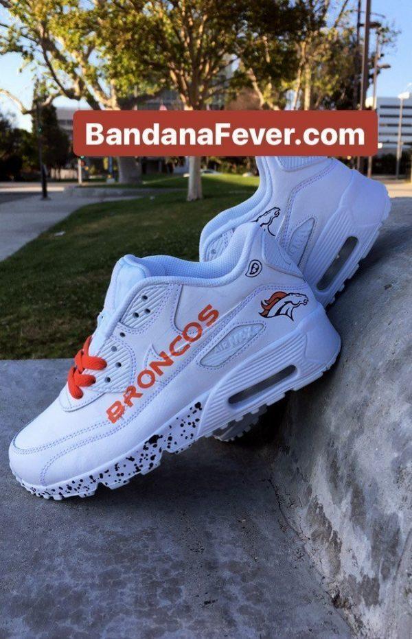 Denver Broncos Navy Splat Custom Nike Air Max Shoes White Pair at BandanaFever.com