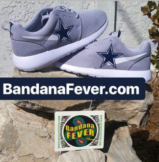 Dallas Cowboys Custom Nike Roshe Shoes Grey Stacked at BandanaFever.com