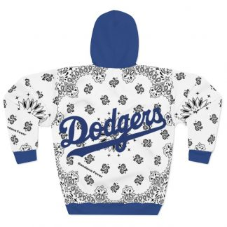LA Dodgers White Bandana Custom Hoodie Pullover White Blue Back by BandanaFever.com