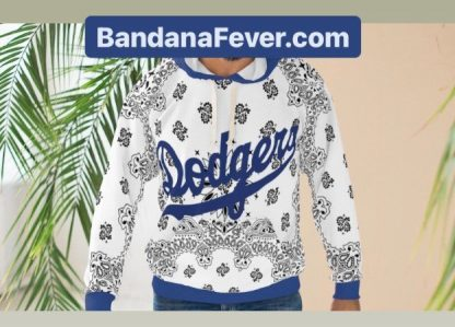 LA Dodgers White Bandana Custom Hoodie Pullover White Blue Model at BandanaFever.com