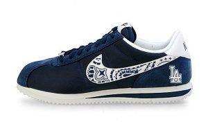 LA Dodgers Mini Navy Blue Bandana Custom Nike Cortez Shoes NNW Outline by BandanaFever.com