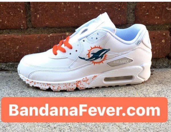 Miami Dolphins Orange Splat Custom Nike Air Max Shoes White Main at BandanaFever.com