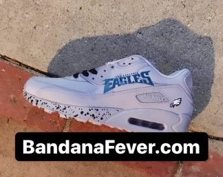 Philadelphia Eagles Black Splat Custom Nike Air Max Shoes Grey Main at BandanaFever.com