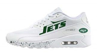 NY Jets Green Splat Custom Nike Air Max Shoes White by BandanaFever.com