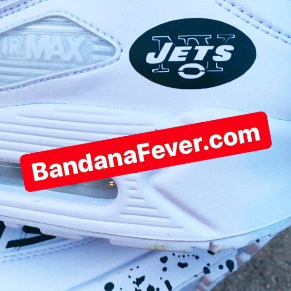 NY Jets Green Splat Custom Nike Air Max Shoes White Close at BandanaFever.com