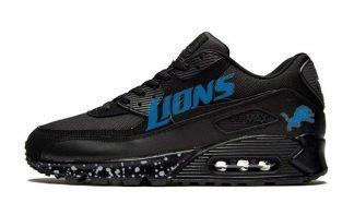 Detroit Lions Silver Splat Custom Nike Air Max Shoes Black by BandanaFever.com