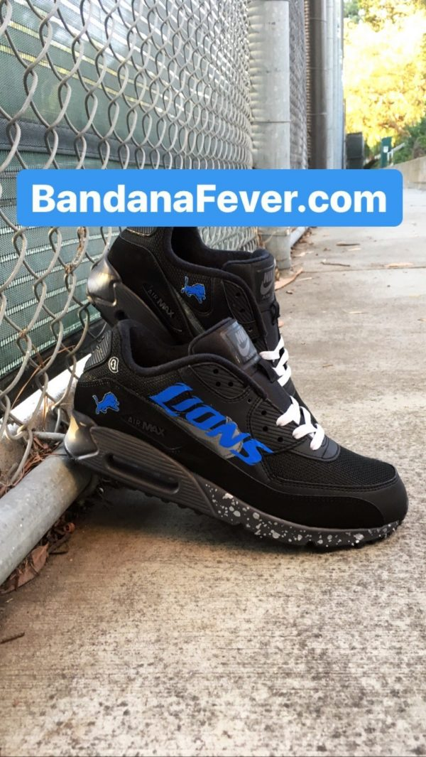Detroit Lions Silver Splat Custom Nike Air Max Shoes Black Sides at BandanaFever.com