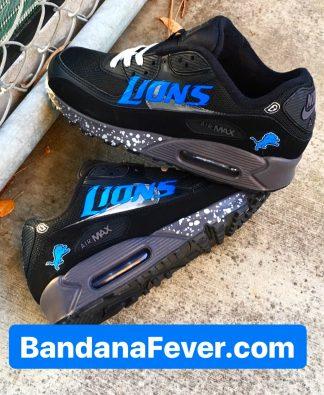 Detroit Lions Silver Splat Custom Nike Air Max Shoes Black Staggered at BandanaFever.com