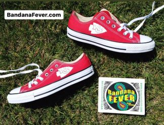 KC Chiefs Mini Custom Converse Shoes Red Low Stagger at BandanaFever.com